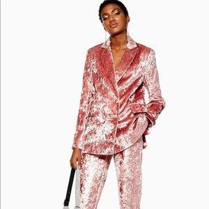 TOPSHOP Pink Crushed Velvet suit